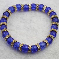 Dark Blue Crackle Bead & Gold Crystal Rondelle