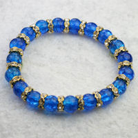 Ocean Blue Crackle Bead & Gold Crystal Rondelle