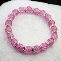 Pink Crackle Bead and Silver Crystal Rondelle