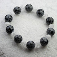Obsidian & White Crackle Bead