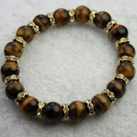 Semi Precious Tiger's eye & Gold Crystal Rondelle