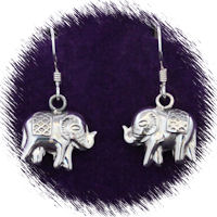 Sterling Silver 3D Elephant Earrings