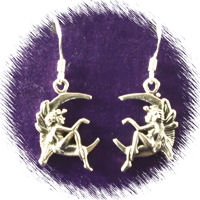 Sterling Silver Fairy Sitting on the Moon Earrings