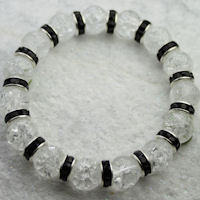 White Crackle Bead & Black Crystal Rondelle