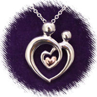Mother & Child with 14ct Heart