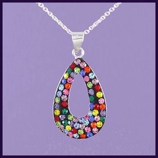Multi-coloured Swarovski Crystal Tear Drop with Hole Pendant