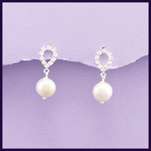 Sterling Silver Cultured Pearl & Cubic Zirconia Earrings