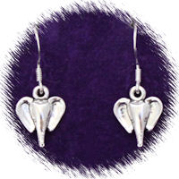 Sterling Silver Elephant Head Earrings