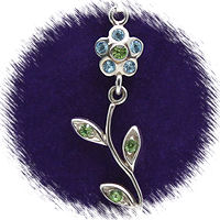 Blue Moveable Flower with Austrian Crystal