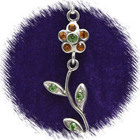 Orange Moveable Flower with Austrian Crystal