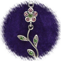 Pink Sterling Silver Moveable Flower with Austrian Crystal