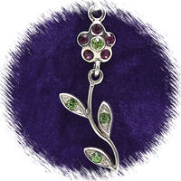 Purple Moveable Flower with Austrian Crystal