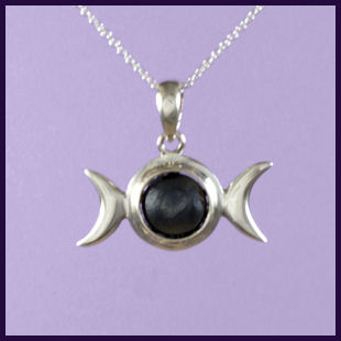 Triple Moon with Hematite and Hidden Pentagram
